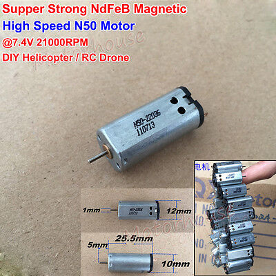 Mini N50 Motor DC 3.7V-7.4V 21000RPM High Speed RC Drone Helicopter Carbon Brush