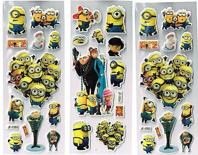 6 x Sticker Sheets   DESPICABLE ME   Ideal Stickers for Scrapbooks Party Bags