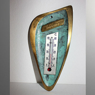 Thermometer 12,5cm 82g Messing Design 50-60 er patiniert