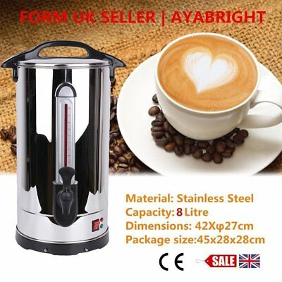 Stainless Steel 8L Tea Urn Electric Catering Hot Water Boiler Coffee Commercial