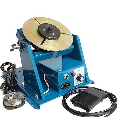 "Rotary Welding Positioner Turntable Table Mini 2.5"" 3 Jaw Lathe Chuck 110V/220V"