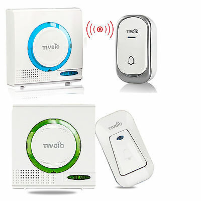 Wireless Battery Doorbell Chime Kit Remote Button W/ Receiver LED Indicator Home