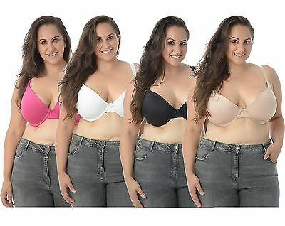 New Womens Plain Bow Padded Push Up Bra Adjustable Bra Tops Sizes UK 36D-42DD