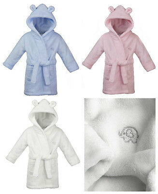 Baby Fleece Dressing Gown Blue Pink and White 6-12m 12-18m 18-24m