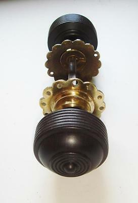 Edwardian Ribbed Rosewood Mortice or Rim Latch Knobs
