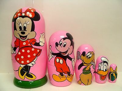 """NEW Hand Painted 7"""" Russian Nesting Doll Disney Mickey Mouse 5 Pc Set"""