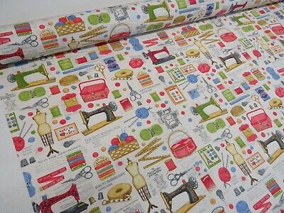 Dress Making Utensils Sewing Machine Theme Scissors 100% Cotton Curtain Fabric