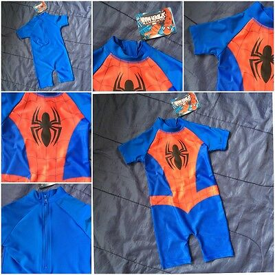 Boys Official Genuine Marvel Spiderman Swimming Surf Suit Swim Beach Hero Cars