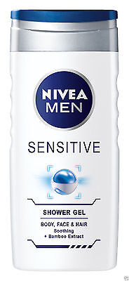 Nivea For Men Shower Gel Body Wash Sensitive for Body, Face and Hair 250ml