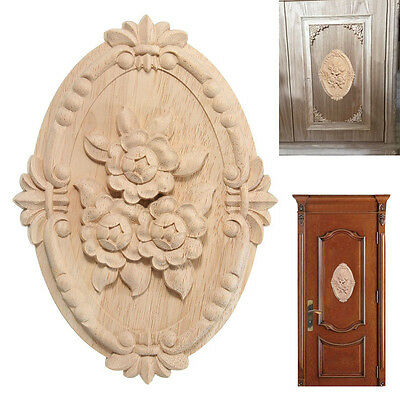 Woodcarving Decal Oval Floral Furniture Applique Unpainted Cabinet Accessory 1PC
