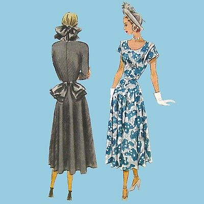 """Vtg 40s McCall 7132 Sewing Pattern Misses Afternoon Dress Size 16 36"""" Bust FF"""