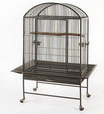 New Large Dome Top Bird Parrot Finch Macaw Cockatoo Macaw Cage Black Vein-119