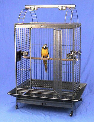 "4 Color, 40""x30""x71""H PlayTop Wrought Iron Parrot Cage, 6mm Extra Strong Wire"