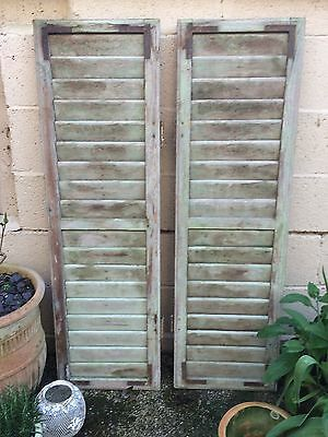 Vintage Wooden French Shutters, Louver Window, Original Condition