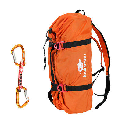 Mountaineering Rock Climbing Rescue Rope Bag Carry Backpack + Quickdraw Hook