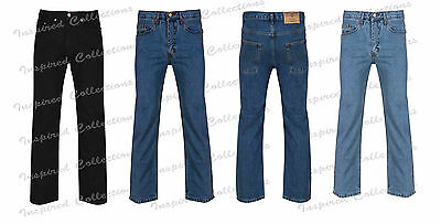 New Mens Straight Leg Regular Fit Plain Denim Jeans Mens