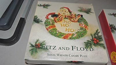 RARE Fitz and Floyd Classics Christmas Court Santa Canape Plate Wall Hanging #2