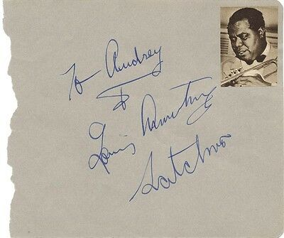 """Louis """"Satchmo"""" Armstrong - Inscribed Album Leaf Signed"""