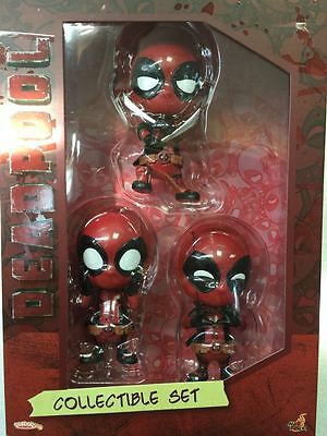 Hot Toys COSB246 Bobble-Head Collectible Set of 3 Deadpool Cosbaby Ver.New