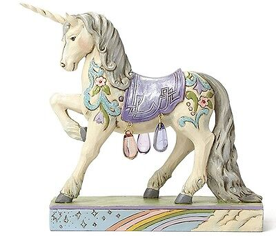 Unicorn Figurine Detailed Hand Painted Accented with Translucent Glass Beads NEW