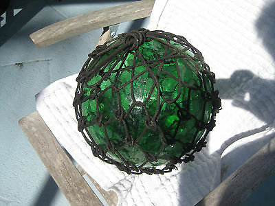 Japanese Glass Fish Floats - Emerald Green- Dark Roping - Large