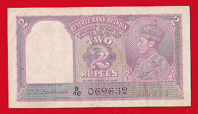 Nd 1943 India, Reserve Bank 2 Rupees.