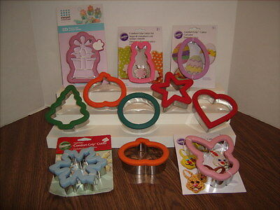 Wilton Comfort Grip Cookie Cutter Lot of 11 Some New Heart - Bunny - Pumpkin +