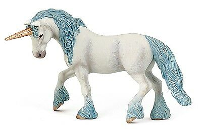 Unicorn Figurine Majestic White w/ Blue Mane Tail and Golden Horn Toy 5.9 Inches