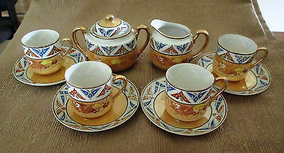 Vintage Lusterware Tea Set Red Dragon Cream and Sugar 4 cups and saucers