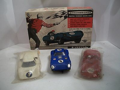 Vintage 1/24 Strombecker Cheetah Slot Car And Two Bodies With Stombecker Box