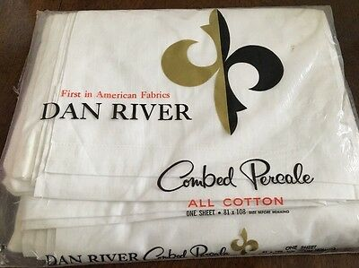 NEW! vtg Dan River FULL FLAT Sheet All Cotton Combed Percale White 100% Cotton D