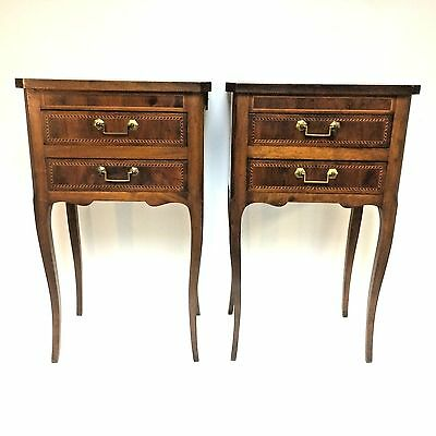 Fine Pair Of Antique Inlaid French Side Tables 2 Front Drawers + Side Drawer