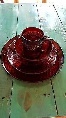 Vintage  Ruby Red Glass Luminarc Arcoroc Pressed Glass Set... 8 Sets Available