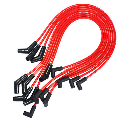hei red spiral core spark plug wires 45 degree end for bbc chevy 396-427
