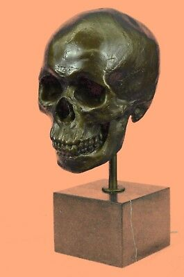 NEW Unique Handmade Bronze 1:1 Full Life Size Human Skull imitation marble SALE