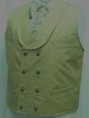 Double Breasted Khaki Wheat Frontier Old West Victorian Westworld style vest