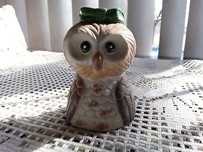 "Porcelain Bisque Owl Bell With Porcelain Clapper 3 1/2"" Tall"