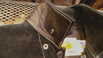 SCHOTT NYC trucker/ NWT  MADE IN USA BLACK ROUGH SUEDE RARE JACKET NWT