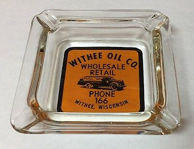 Vintage Withee Oil Co. Phillips 66 Truck Ashtray Glass