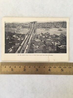 New York NY Birds Eye View East River Ships Cars 1910 Vintage Antique Postcard