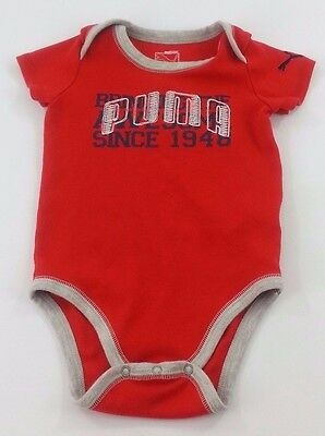 36d7d76ba2c1fd Puma Boys Red Sz 24Mo One-piece Baby outfit Body Suit Snaps at the Inseam