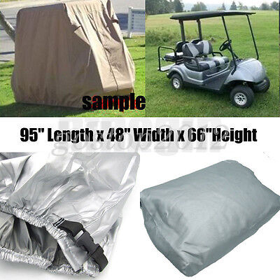 "95"" 2 Passenger Sliver Golf Cart Cover Vents Zippered For EZ GO Cart Yamaha"