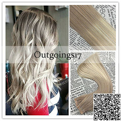 Balayage Ombre Pu Tape In Hair Extensions Blonde Full Head