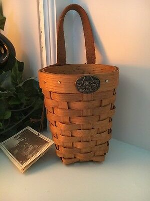 Peterboro Basket (miniature) Hanging With Leather Strap