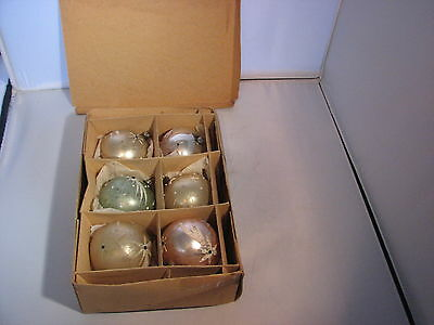 Box Of 6 Vintage Jeweled Shooting Star Christmas Ornaments Made In Germany
