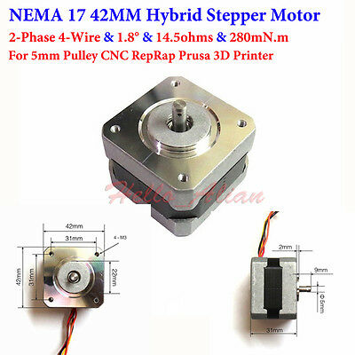 NEMA 17 Hybrid Stepper Motor 2-Phase 4 wires Pulley CNC RepRap Prusa 3D Printer