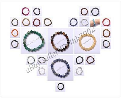 Wholesale  Natural Gemstone Round Beads Stretchy Bracelets Assorted Stones 8MM