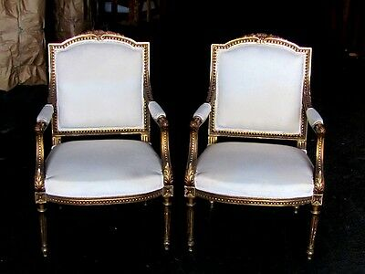 19th C. Pair of French Gilded Louis XVI Empire Fauteuil Chairs