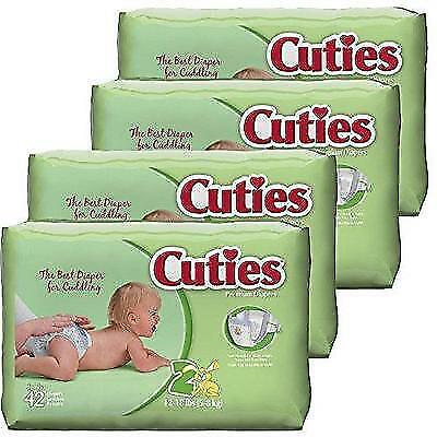 Cuties Baby Diapers, Size 2, 42-Count, Pack of 4 New
