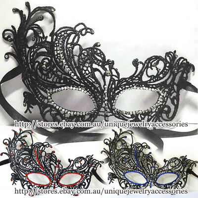 Halloween Lace Eye Mask Diamante Rhinestone Masquerade Dance Ball Party Costume